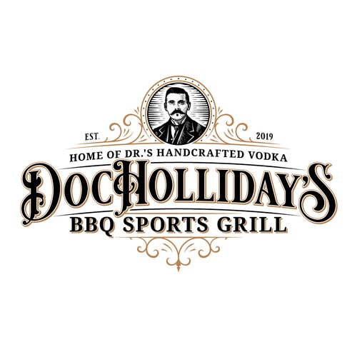 Western logo with the title 'Doc Holliday's BBQ Sports Grill'