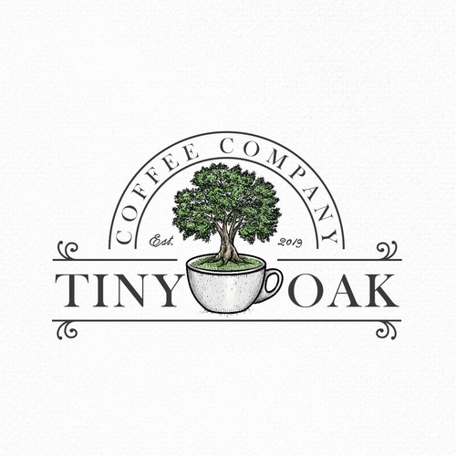 Oak tree logo with the title 'Tiny oak'