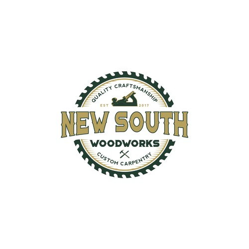 Blade logo with the title 'New South Woodworks'
