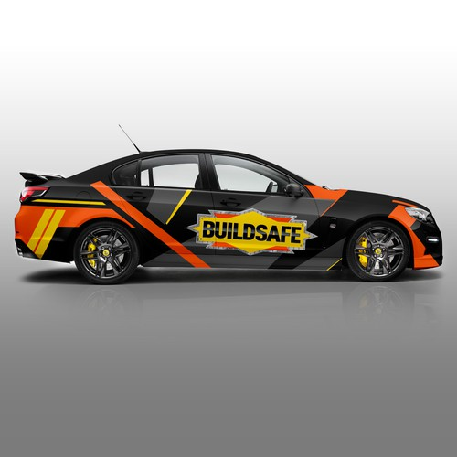 Camouflage design with the title 'BUILDSAFE Car Wrap'