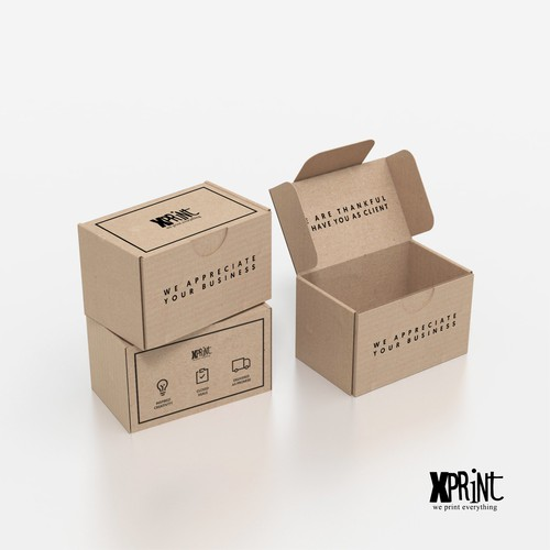 Kraft paper packaging with the title 'A box design that thanks the client'