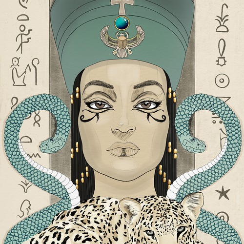 Outline illustration with the title 'Cleopatra VII portrait & leopard and snakes '