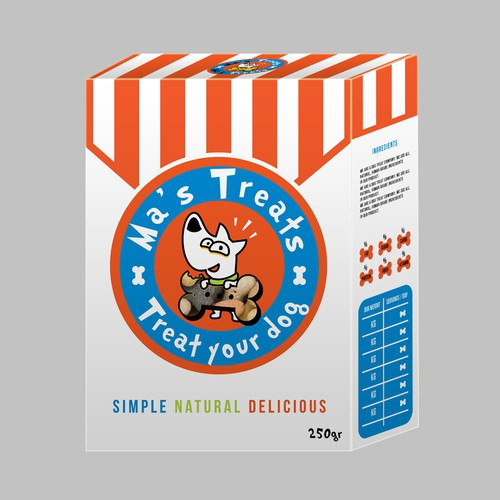 Stripe design with the title 'Packaging for treats for dogs'