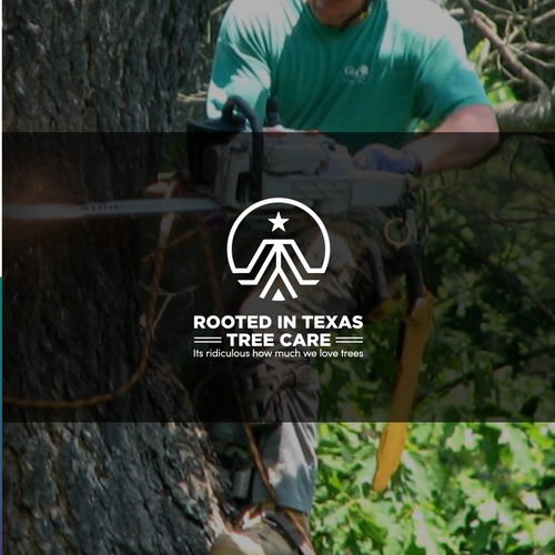 Root design with the title 'Monogram line logo for Rooted in Texas Tree Care'