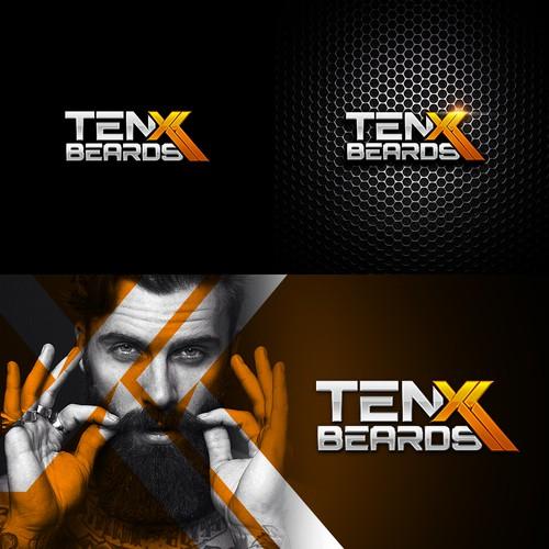 Man logo with the title 'TenXBeards'