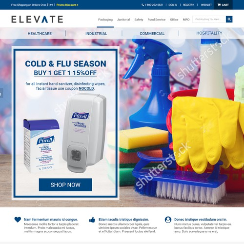 Cleaning website with the title 'Elevate - Homepage'