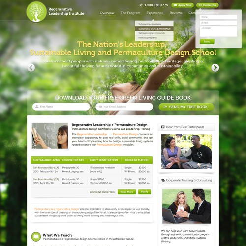Natural website with the title 'Leadership and Sustainability School needs a new website design'