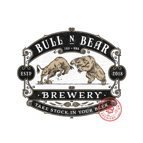 Brewery logo with the title 'Bull N Bear Brewery'