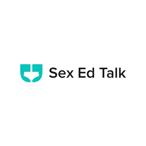 Turquoise logo with the title 'Sex Ed Talk'