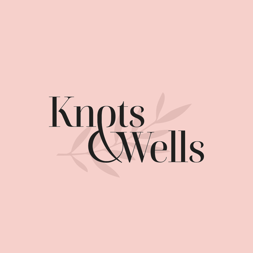 Rose gold logo with the title 'Knots & Wells'