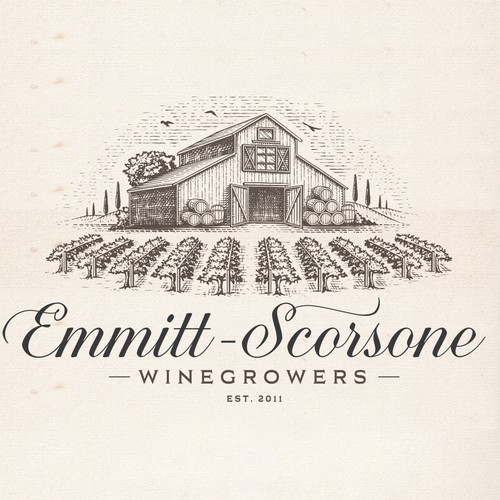 Vineyard design with the title 'Emitt-Scorsone winegrowers'
