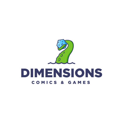 Dice design with the title 'Fun logo for a gaming and comics shop'