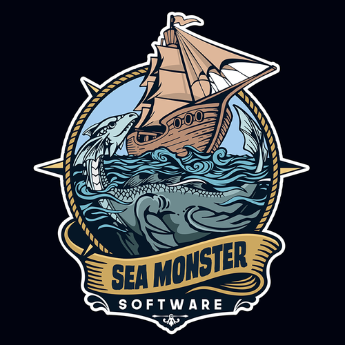 Sea brand with the title ' Sea Monster Software, a mobile application development company needs an identity.'