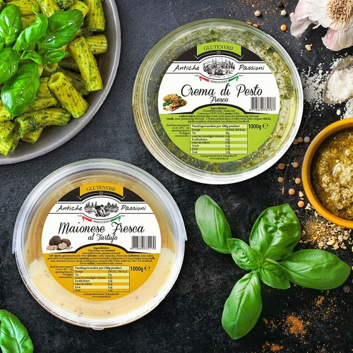 Vegan label with the title 'Label for Netherlands pesto'