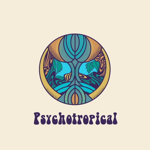 Logo with the title 'Tropical psychedelic logo for clothing brand'