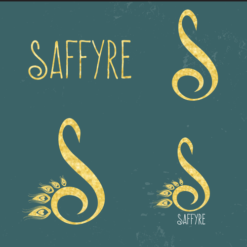 Laurel wreath logo with the title 'logo design for Irish songwriting family girl band, Saffyre'