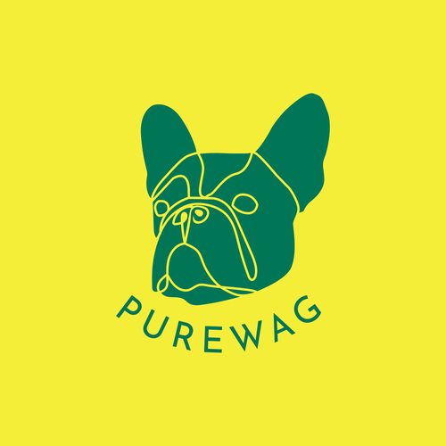 French bulldog logo with the title 'Purewag Logo Design Concept'