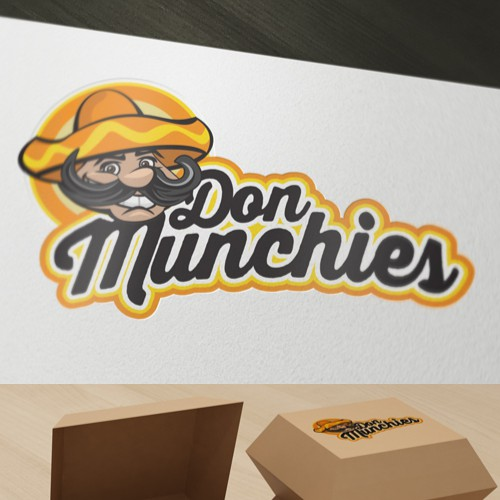 Yellow and orange design with the title 'Character creation for a fast food outlet'