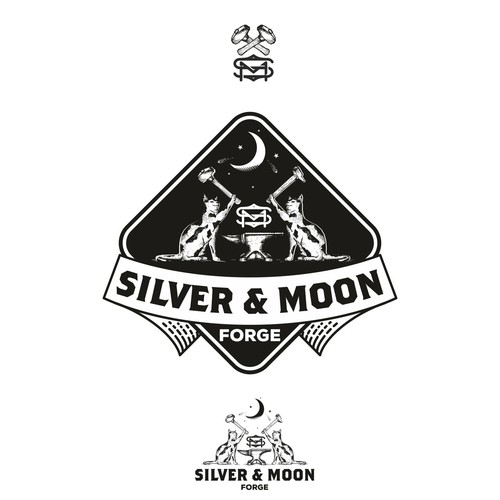 Old school logo with the title 'Silver & Moon logo'