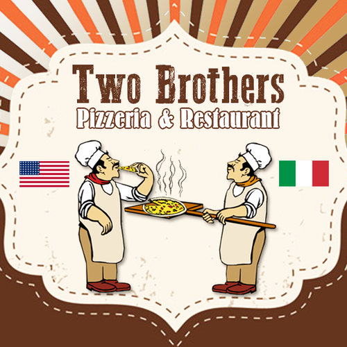 Brothers logo with the title 'Create a trendy logo for a neighborhood pizza place'