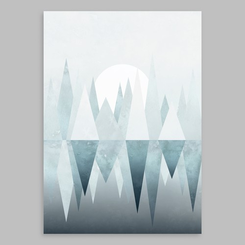 "Canvas illustration with the title 'Scandinavian canvas art ""Winter Lake""'"