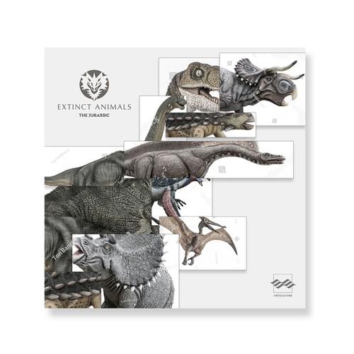 Animal design with the title 'Album Cover Art: Extinct Animals'