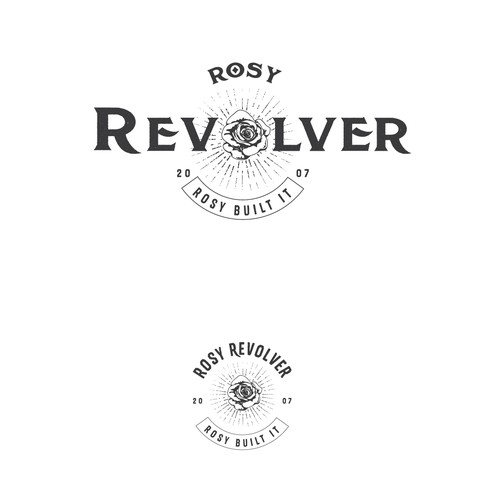 Black rose logo with the title 'Rosy Revolver'