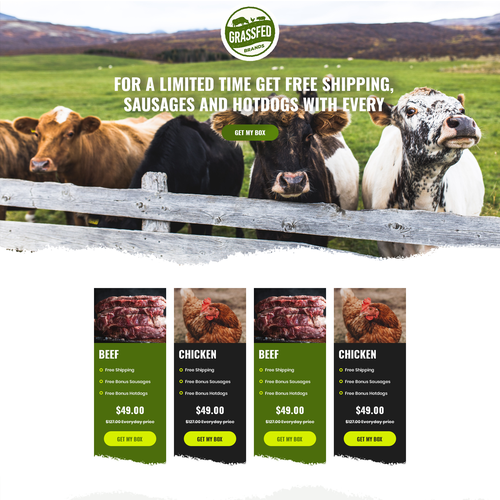 Agriculture website with the title 'Landing page design for farm product'