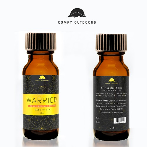 Pharmaceutical label with the title 'Comfy Outdoors Warrior'
