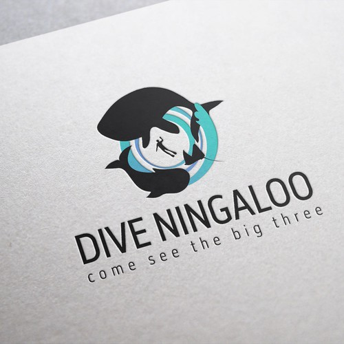 Diving design with the title 'Scuba diving on the Ningaloo'