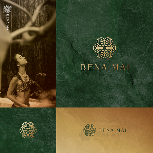 Green brand with the title 'Logo for BENA MAI, a swimsuit Company'