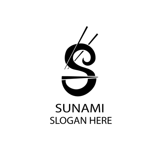 Chinese food logo with the title 'SUNAMI'