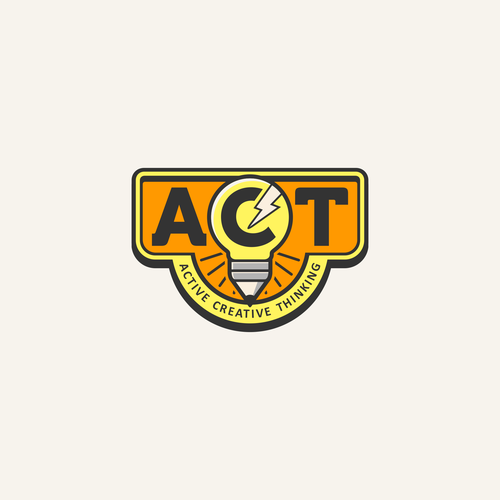 Thinking logo with the title 'Creative logo work for A.C.T.'