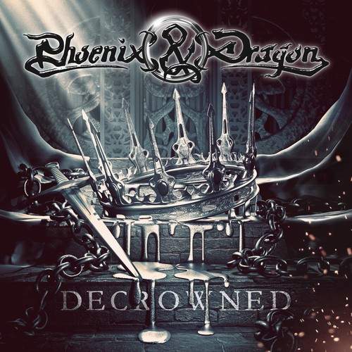 Chrome design with the title 'Decrowned - Phoenix&Dragon cover art'