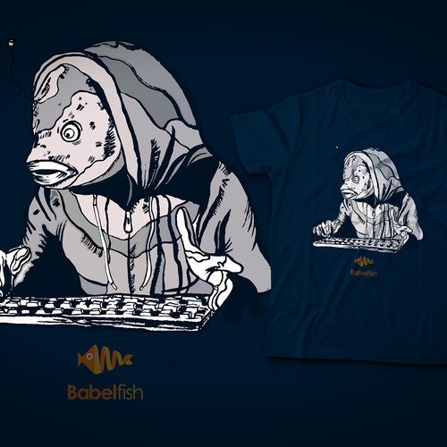 Sci-fi t-shirt with the title 'T-Shirt Design for the Babelfish Open Source project'