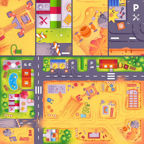 Game illustration with the title 'Children's Play Mat'