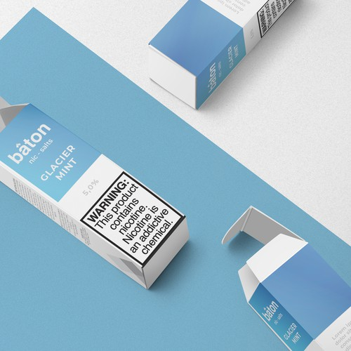 Contemporary packaging with the title 'Packaging Design for Vape Liquid'