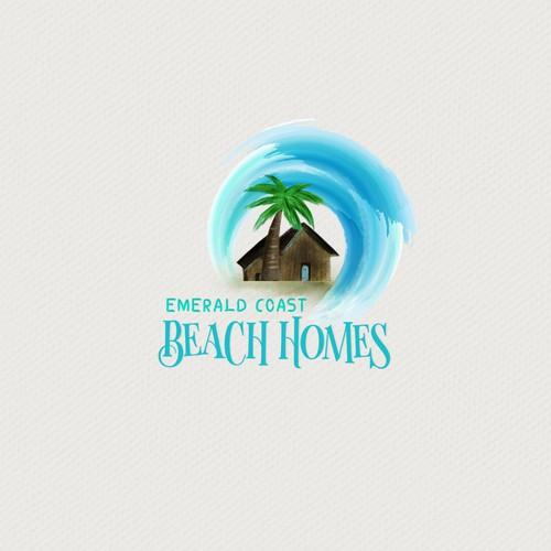 Tiki logo with the title 'Emerald Coast Beach Homes Logo Design'