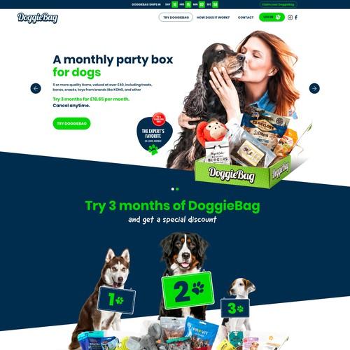 Adobe XD design with the title 'DoggieBag'