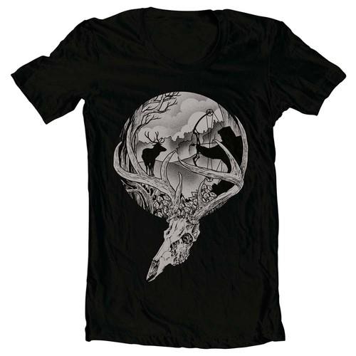 Deer t-shirt with the title 'Hunting season deer skull'