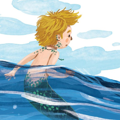Kids book illustration with the title 'Mermaid Boy'