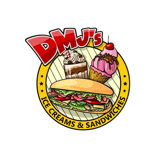 Street food logo with the title 'DMJ's Ice Creams and Sandwiches'