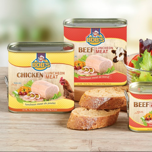 Can design with the title 'Bob's, chicken & beef luncheon meat'
