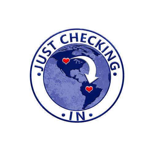 Worldwide logo with the title 'Just Checking In world communication logo'