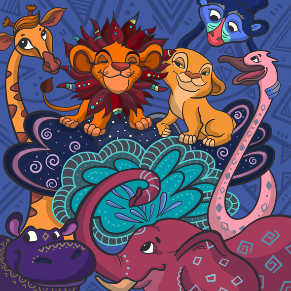 """Lion King design with the title '""""The Lion King"""" scene illustration'"""