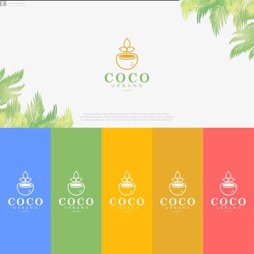 Orange and green design with the title 'Crie um design de logotipo moderno para Coco Urbano'