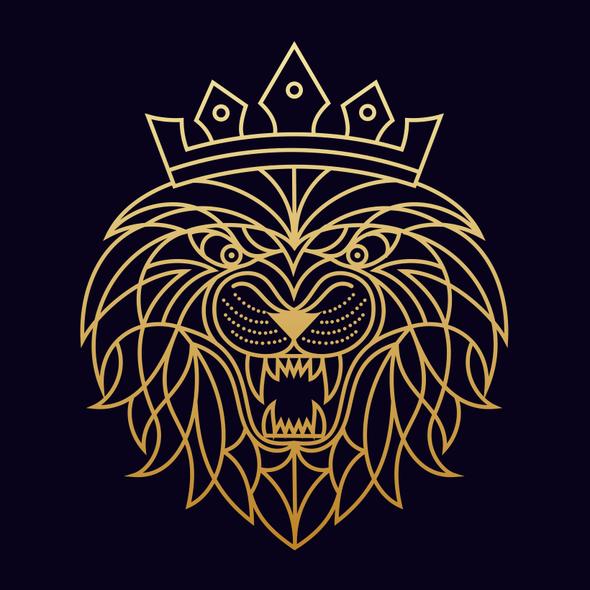 Monoline illustration with the title 'LION'