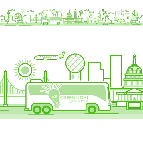 Green illustration with the title 'Line art City Illustration'