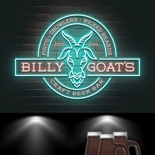 Goat design with the title 'Design a Cool Logo for Billy Goat's Craft Beer Bar'