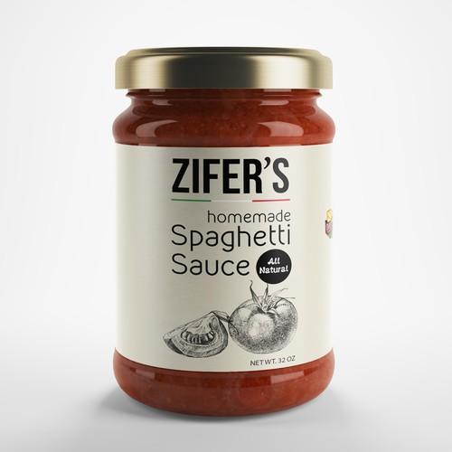 Italian food design with the title 'Label idea for tomato sauce'